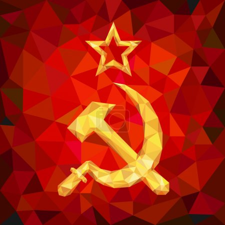 Sickle and Hammer Emblem of USSR in Polygons
