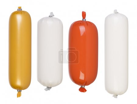 Blank salami and sausage packages isolated on white background