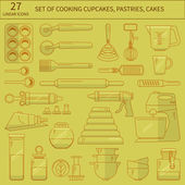 Baking kitchen flat icons set