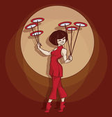 Cute cartoon Young circus artist perform Spinning Plate Juggling Pinup cartoon style