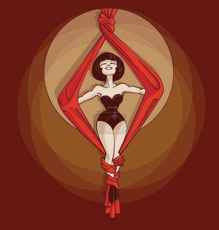 Pin-up silk rope cute cartoon artist