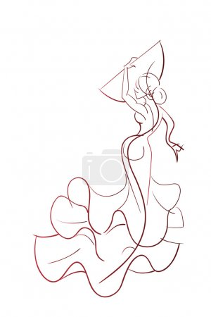 Gesture drawing young female flamenco performer in...