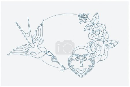 love theme coloring page old school tattoo signs