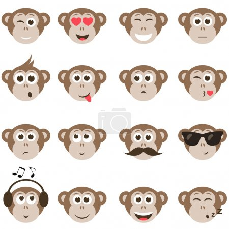 Illustration for Monkey smiley faces set - Royalty Free Image