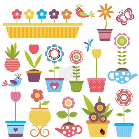 Illustration for Cute spring colorful flowers in pots - Royalty Free Image
