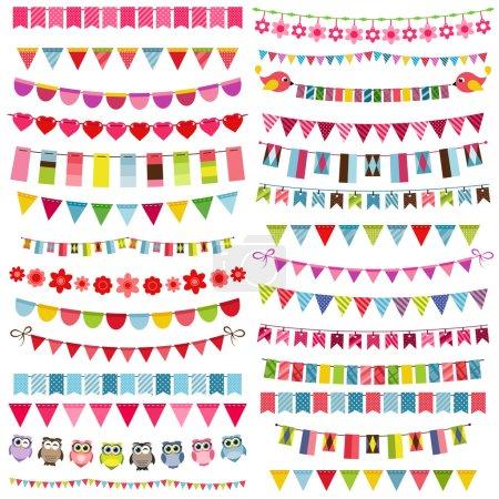 Ilustración de Coloridas banderas, empavesado y conjunto de garland - Imagen libre de derechos