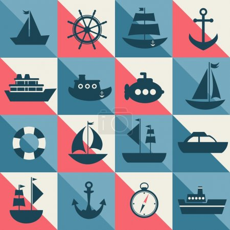 Illustration for Blue and red background with sea transport - Royalty Free Image