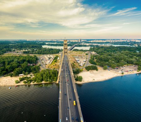 Aerial view of highway and Moscow bridge across the Dnieper.