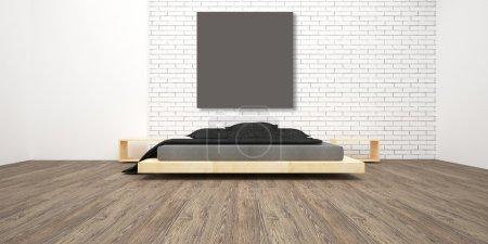 Photo pour 3d rendre une chambre lumineuse. Intérieur minimaliste. Design moderne - image libre de droit