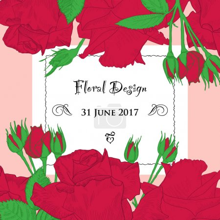 Vector frame made of hand drawn red roses and buds with invitation card.