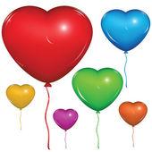 Vector heart balloon Color set