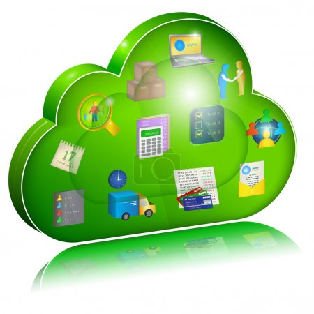 Digital enterprise management in cloud application. Concept icon