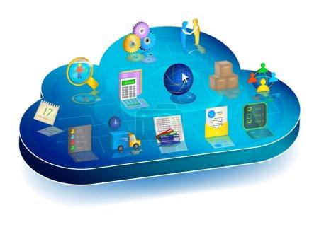 Illustration pour Cloud 3D bleu avec des icônes de gestion des processus d'entreprise : comptabilité, inventaire, relations clients, échange de documents électroniques, banque, logistique, planificateur, gestion du personnel . - image libre de droit