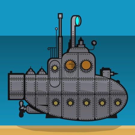 Submarine, vector illustration.