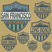 Stamp or label set with names of California cities