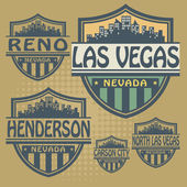 Stamp or label set with names of Nevada cities