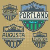 Label set with names of Maine cities