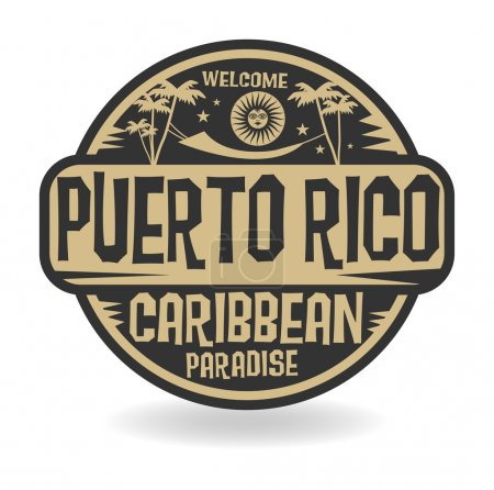 Stamp or label with the name of Puerto Rico