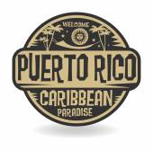 Stamp or label with the name of Puerto Rico vector illustration