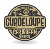 Stamp or label with the name of Guadeloupe