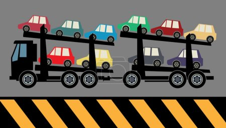 Illustration for Car carrier truck deliver new auto, vector illustration - Royalty Free Image