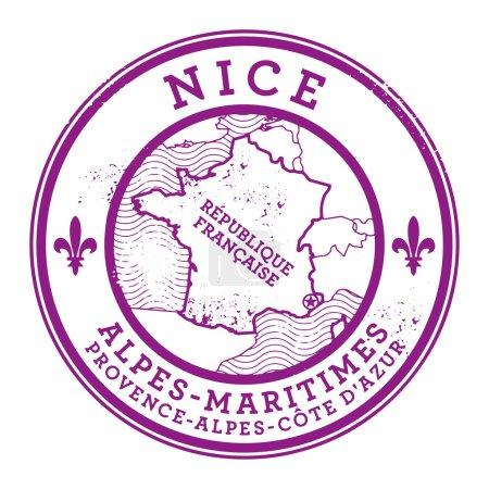 Illustration pour Grunge tampon caoutchouc avec des mots Nice, France à l'intérieur, illustration vectorielle - image libre de droit