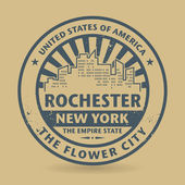 Grunge rubber stamp with name of Rochester New York