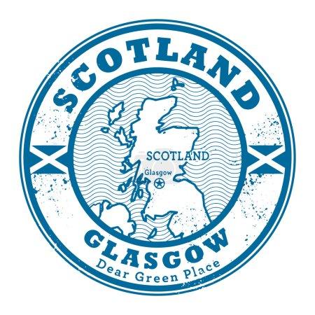 Grunge rubber stamp with words Scotland, Glasgow