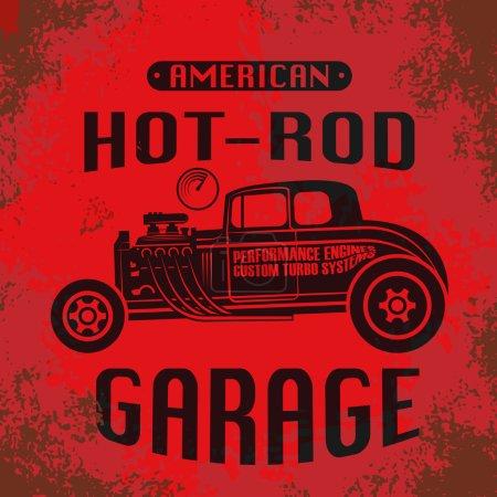 Illustration pour Affiche Hot Rod rétro, illustration vectorielle - image libre de droit