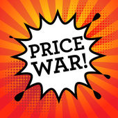 Comic book explosion with text Price War vector illustration