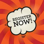 Comic explosion with text Register Now