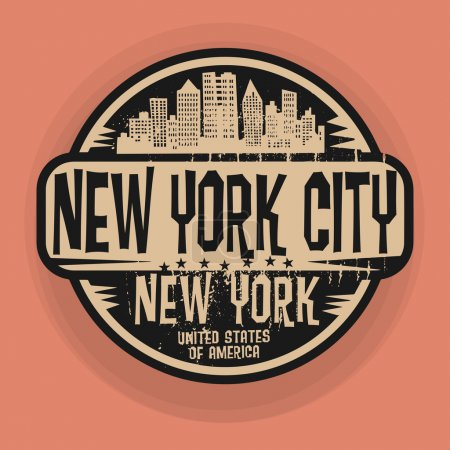 Illustration for Stamp or label with name of New York, New York City, vector illustration - Royalty Free Image