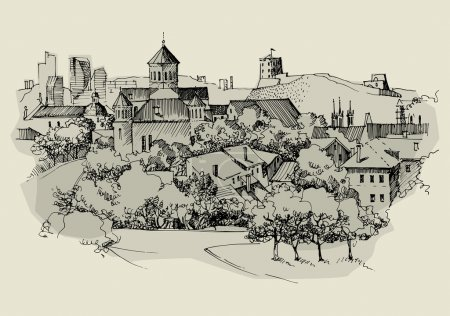 Architecture of old town, hand drawn sketch