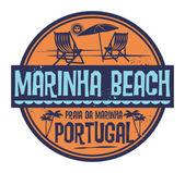 Stamp with words Marinha Beach Portugal written inside