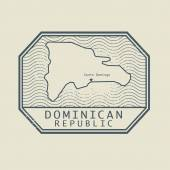 Stamp with the name and map of Dominican Republic