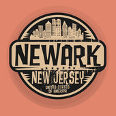 Stamp or label with name of Newark New Jersey