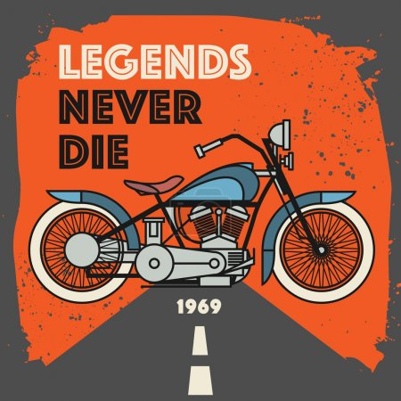 Vintage Motorcycle sport label with the text Legends Never Die