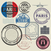 Travel stamps set France theme