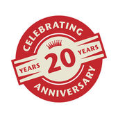 Stamp with the text Celebrating 20 years anniversary