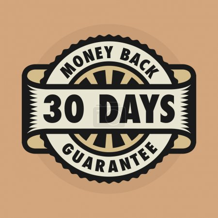 Illustration for Stamp or label with the text 30 days money back guarantee, vector illustration - Royalty Free Image
