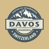 Abstract stamp with the name of town Davos in Switzerland