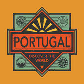 Vintage emblem with text Portugal Discover the World