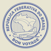 Air mail or travel stamp Brazil theme vector illustration