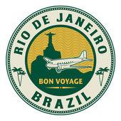 Air mail or travel stamp Rio de Janeiro Brazil theme vector illustration