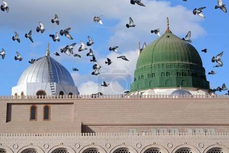 Prophet Muhammed holy mosque and pigeons flying in...