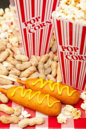 Classic American baseball park snack including del...