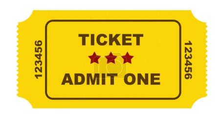 Eintrittskarte auf gelbem Papier