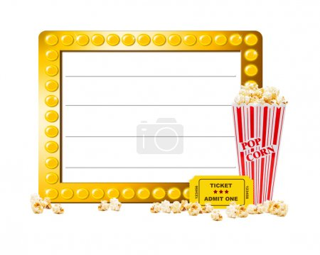 Show sign With Popcorn and  ticket