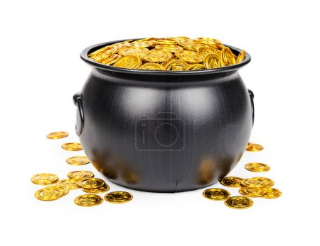 pot filled with gold coins