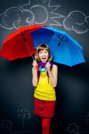 raining under bright umbrellas.
